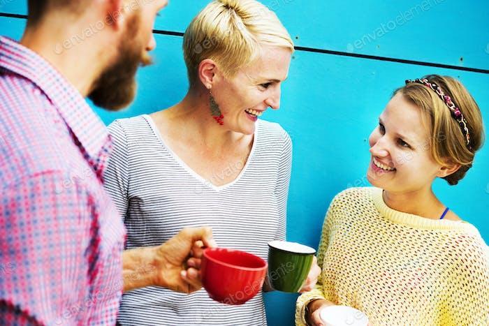 Gruppenmenschen Chatten Interaktion Geselligkeit Konzept