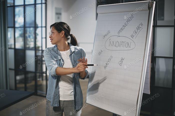 Улыбающаяся азиатская бизнесвумен, переходя концепции во время презентации офиса