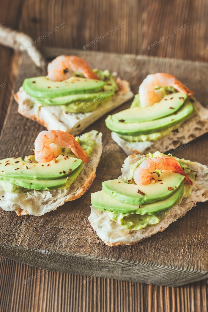Thumbnail for Sandwiches with avocado and shrimps