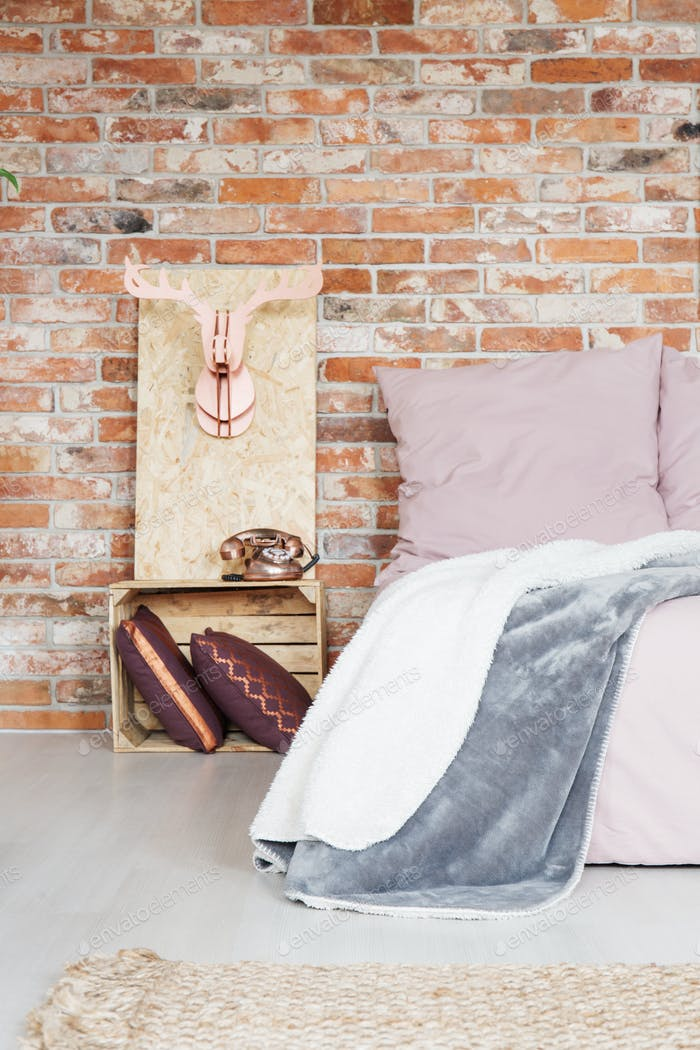 Bedroom with crate nightstand