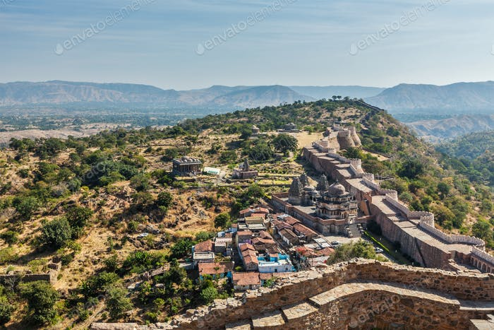 Temples and houses inside Kumbhalgarh fort. Rajasthan, India