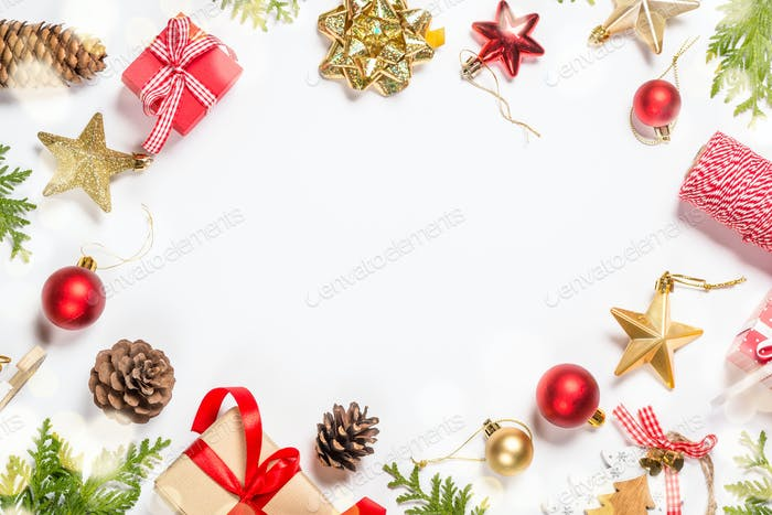 Christmas flat lay background with decorations on white