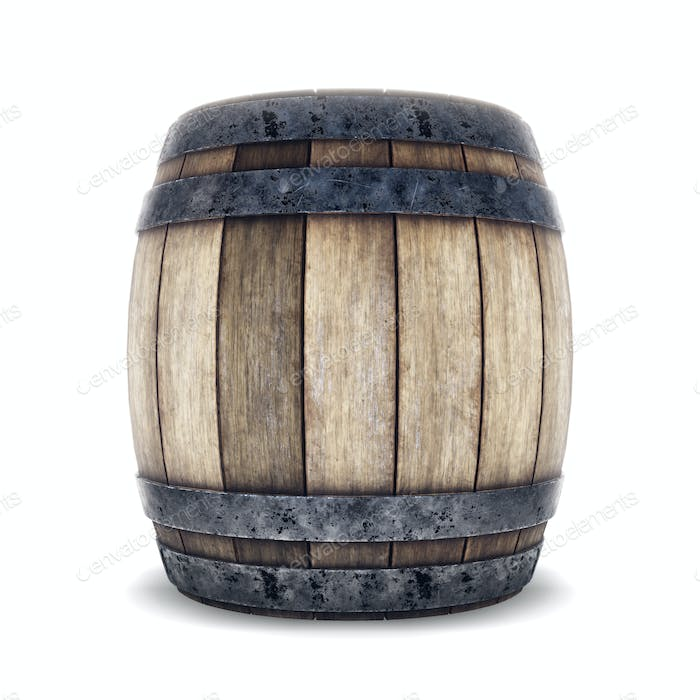 Wooden barrel with iron hoops isolated on white background. 3d r
