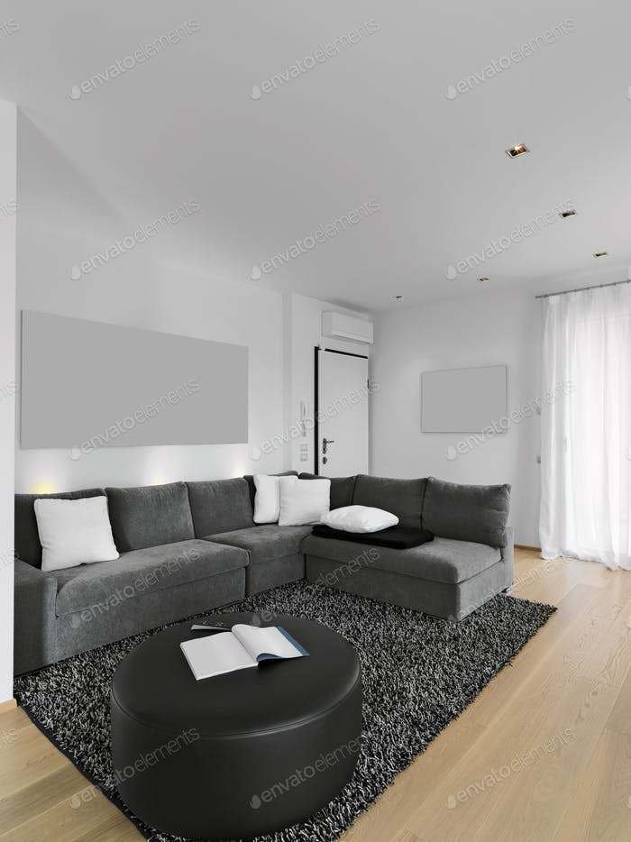 Interiors of a Modern Living Room with Wooden Floor