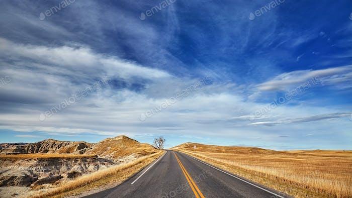 Scenic highway, South Dakota, USA.