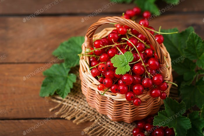Basket with Red currant with leaves on a dark background.
