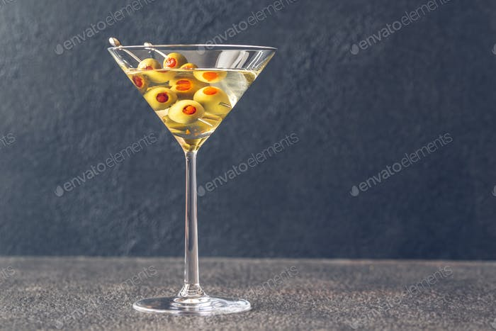 A glass of martini cocktail