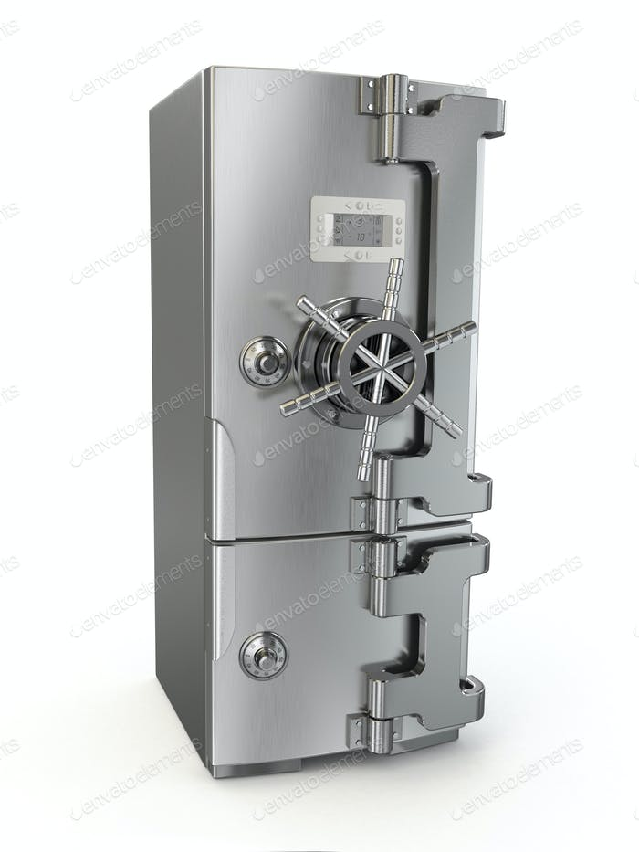 Dieting concept. Refrigerator as safe deposit box.