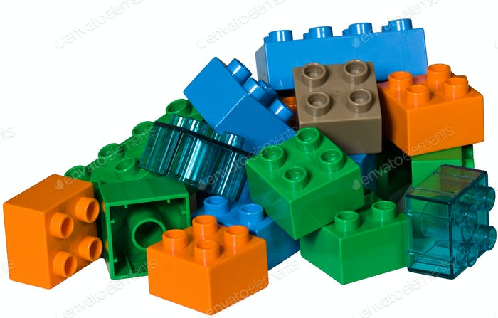 A pile of plastic toy bricks