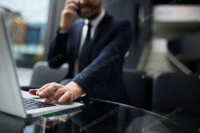Hand on keypad