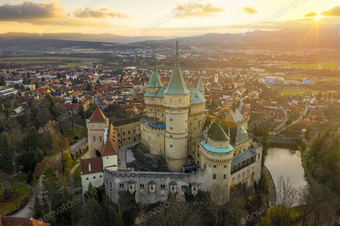 Bojnice castle and town in Slovakia from aerial view at sunrise