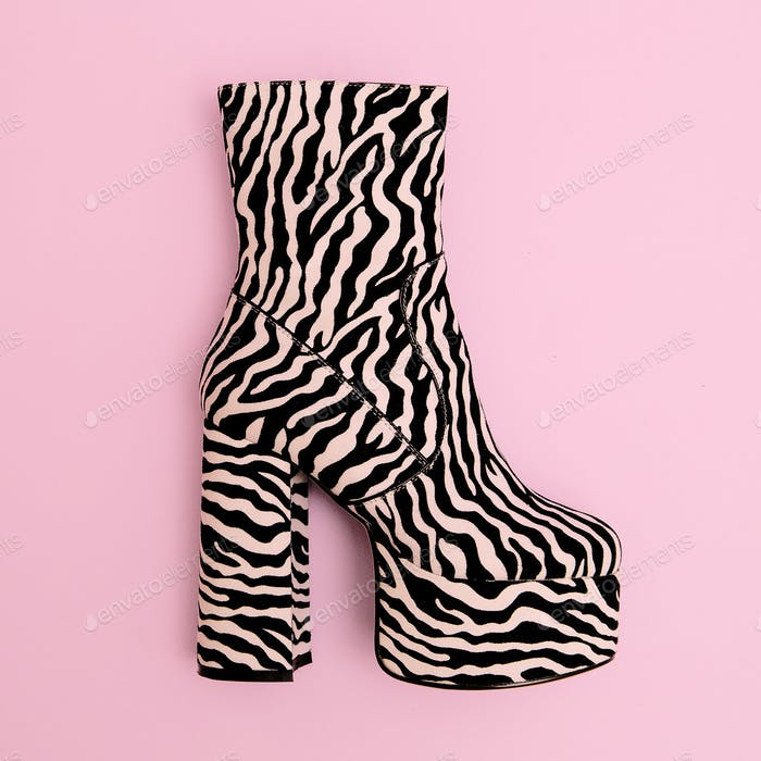 Stylish boots heel. Animal zebra print. Fashion concept