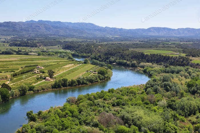 Ebro river Miravet castle in Catalonia
