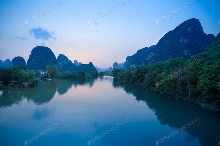 yangshuo at dusk in guilin