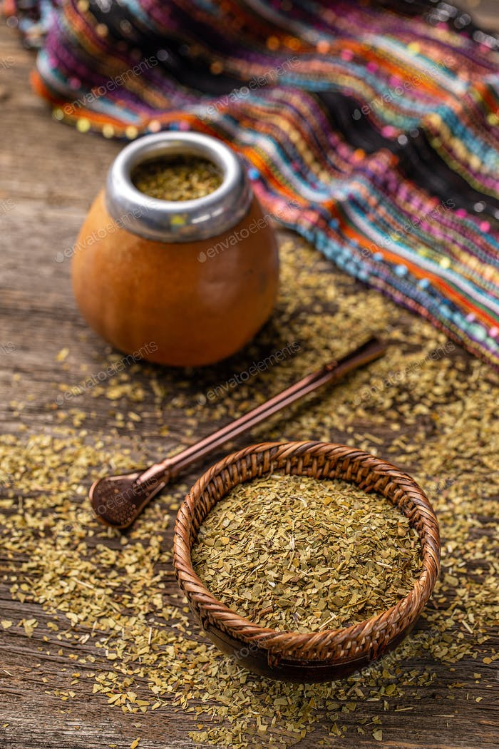 Traditional South American yerba mate leaves
