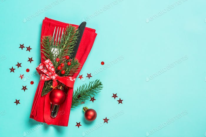 Christmas table setting top view