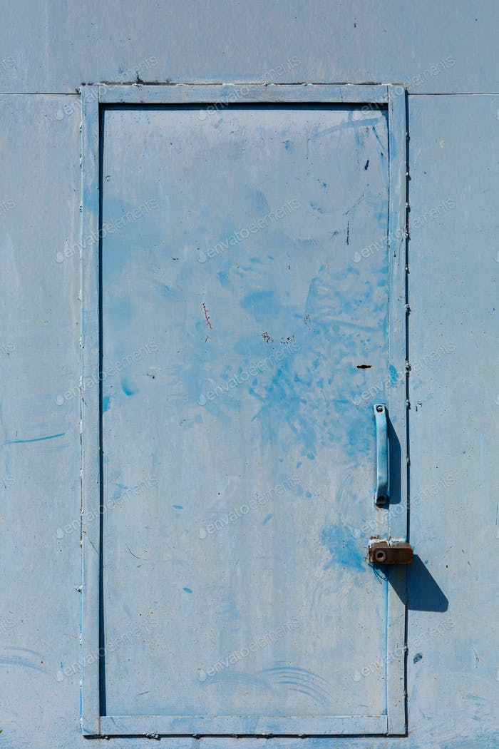 Blue Old locked Door