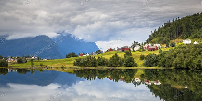 Panorama view landscape of Nordic village in Norwegian fjord