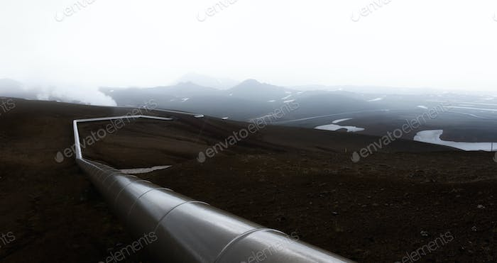 Iceland landscape with pipes in mountains