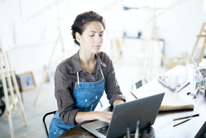 Woman working in the net