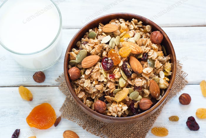 Granola in a wooden bowl.