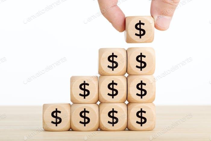 Concepto de crecimiento, ahorro, riqueza o riqueza