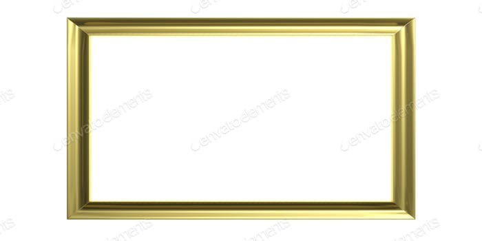 Golden frame on white background. 3d illustration