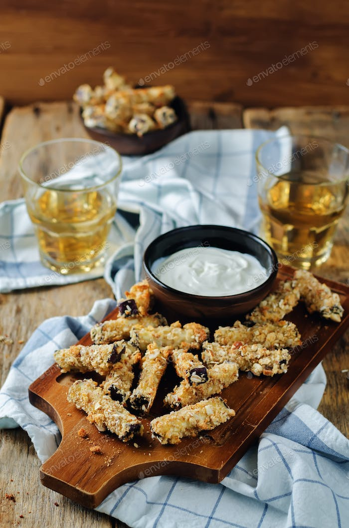 Baked Eggplant Fries with sauce