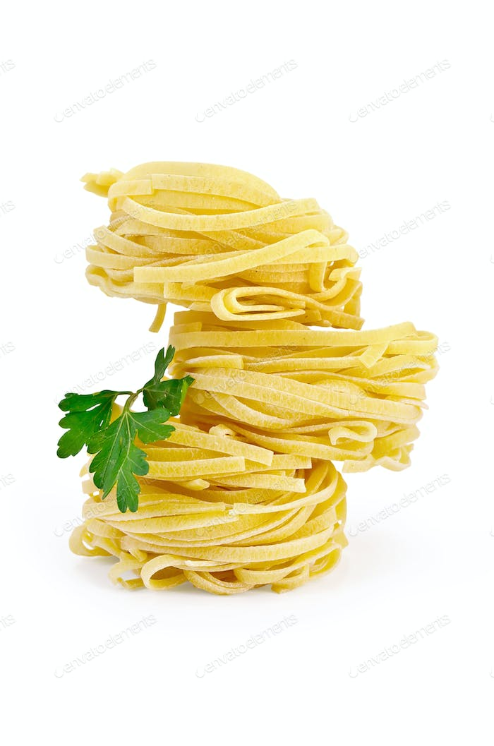 Noodles curled with parsley