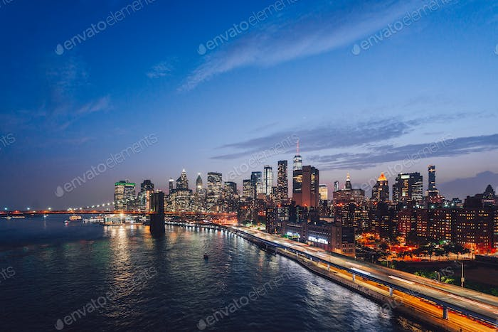 Urban night landscape in New York