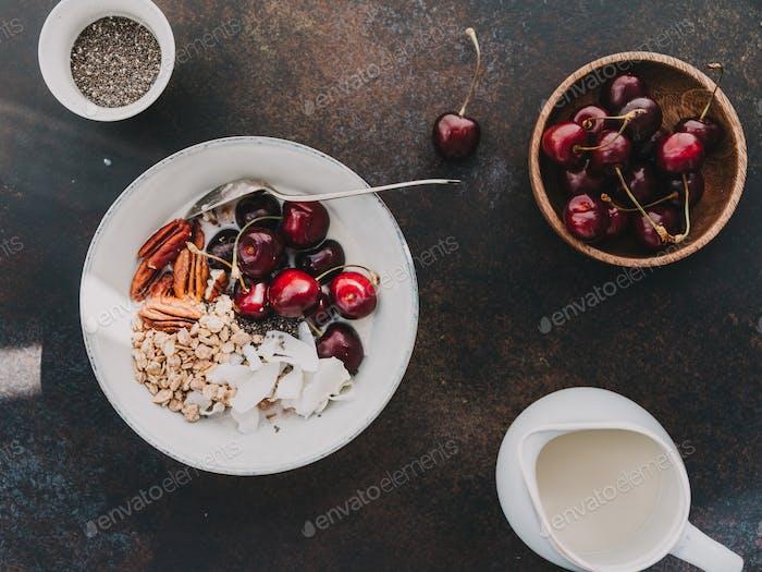 Healthy summer vegetarian breakfast