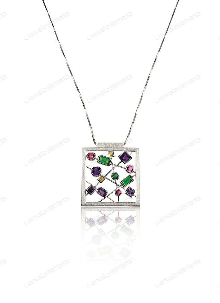 Multiple Gemstone Pendant Necklace