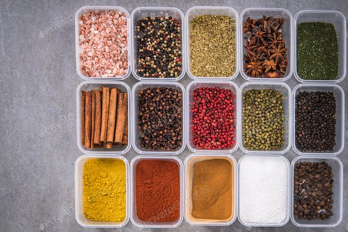All spices in boxes from above