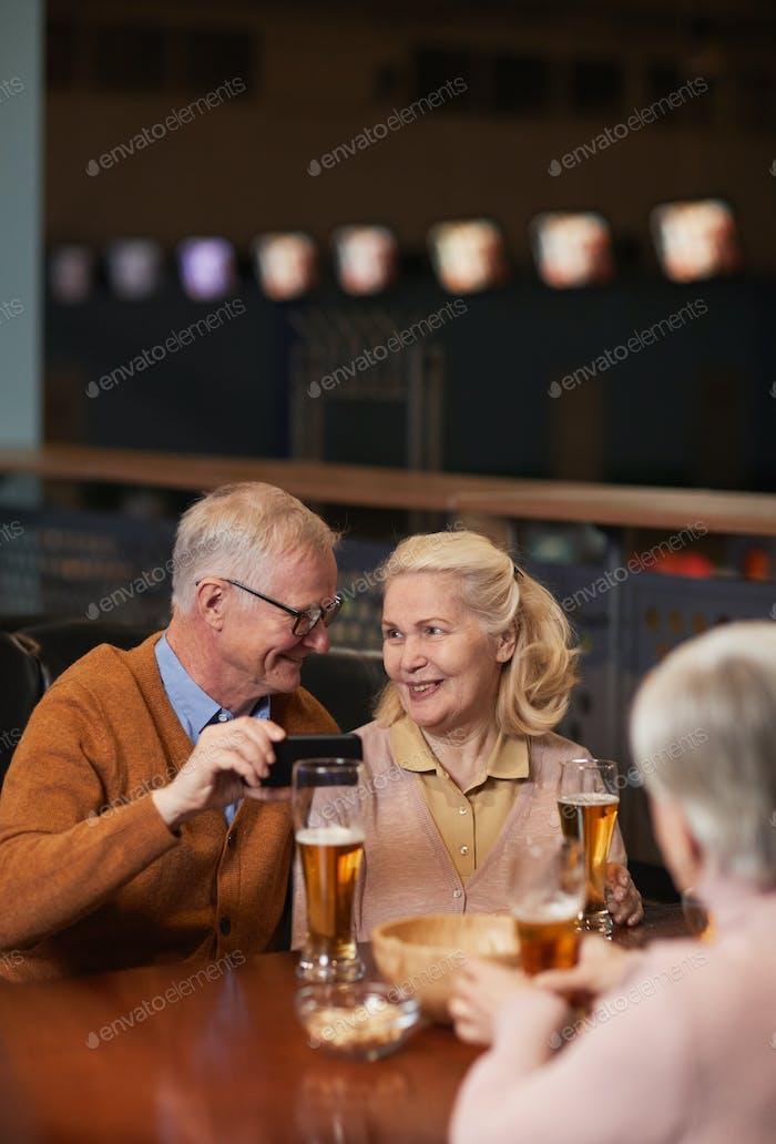 Happy Senior Couple in Bar