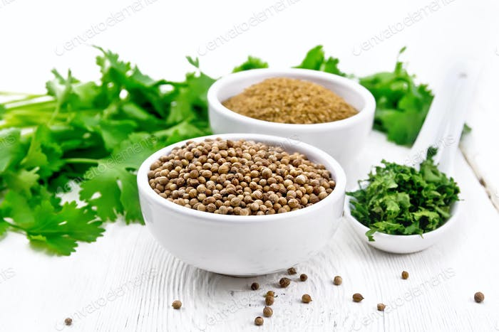 Coriander ground and seeds in bowls on light board