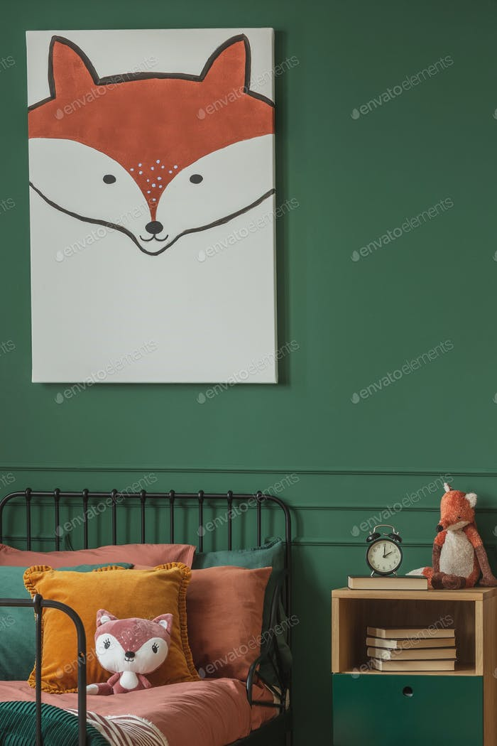 Close-up of a fox painting