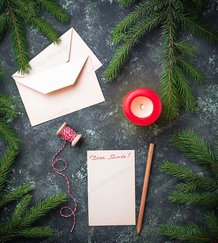 Brief mit Text Lieber Santa