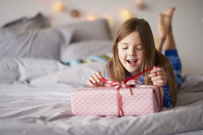 Happy little girl with Christmas present