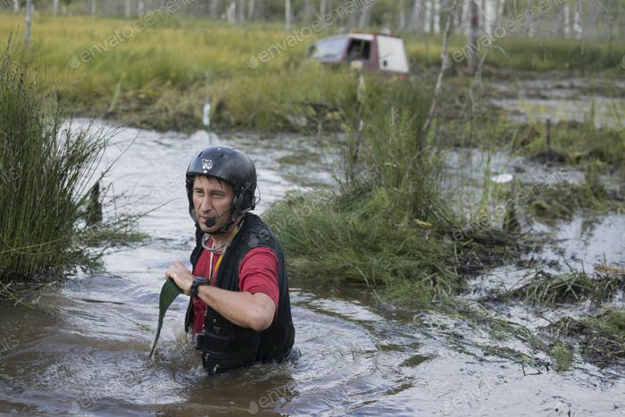 Off road sport, cars overcome the swamp