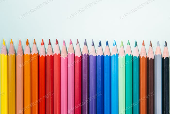 Palette of pencils in a row