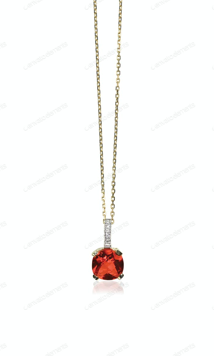 Red Ruby Gemstone diamond necklace with chain
