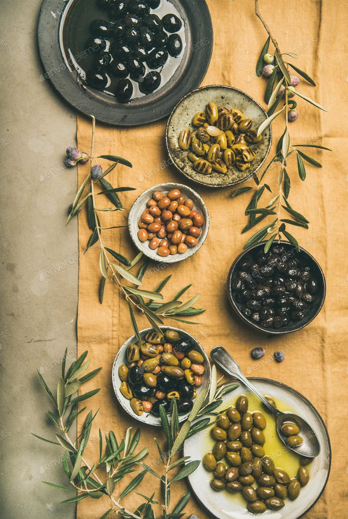 Mediterranean pickled olives and olive tree branches, top view