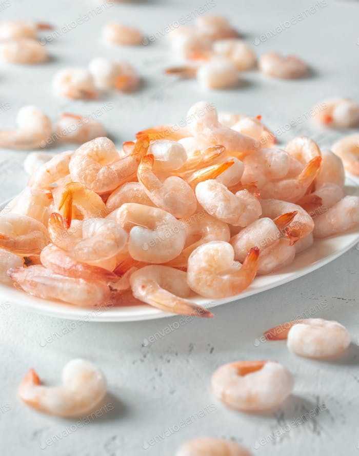 A bowl of frozen shrimp