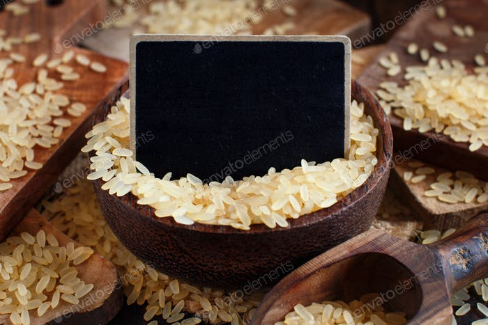 Parboiled rice with a small chalkboard