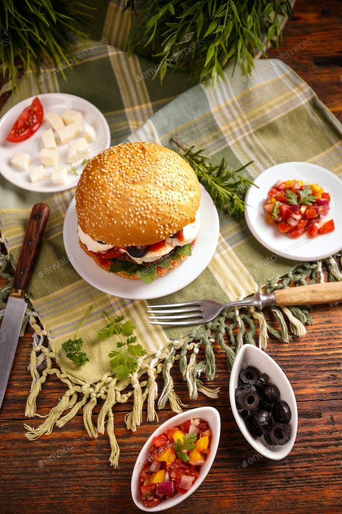 Still life of burger