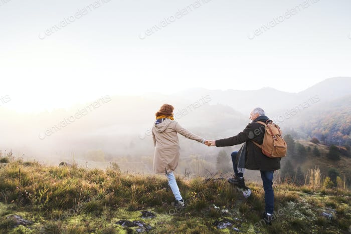 Thumbnail for Senior couple on a walk in an autumn nature.