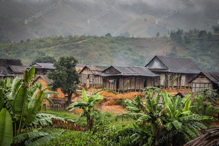 Small village in the Madagascar rainforest