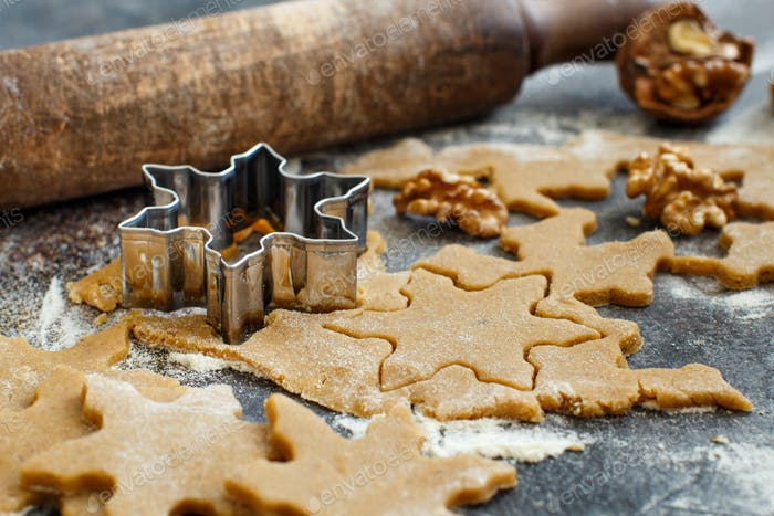 Cooking Christmas cookies with  cookie cutters