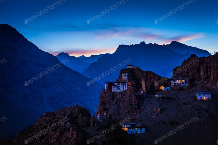 Dhankar gompa in twilight