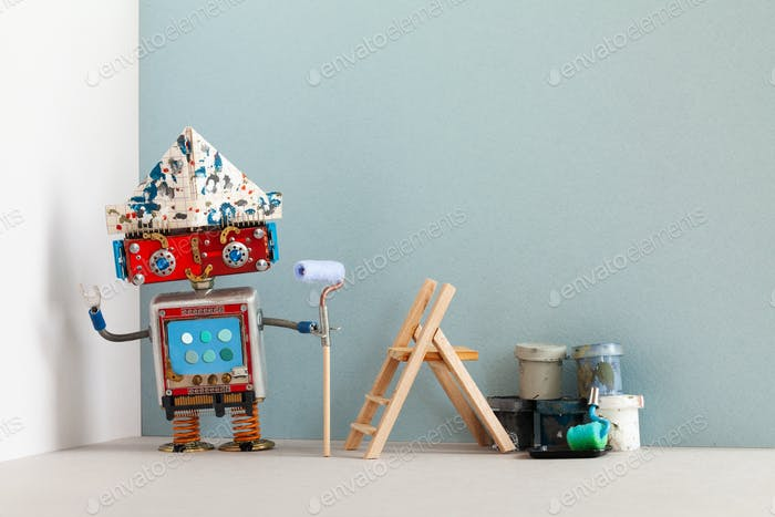 Smiley robot painter decorator with paint roller buckets and wooden ladder.